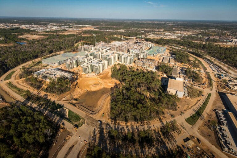 Ariel view of Exxon Mobil Houston Campus, large group of buildings surrounded by trees