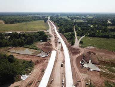 Drone view of road construction project