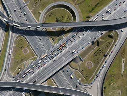 Drove view of highway interchange