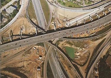 Ariel view of highway interchange construction